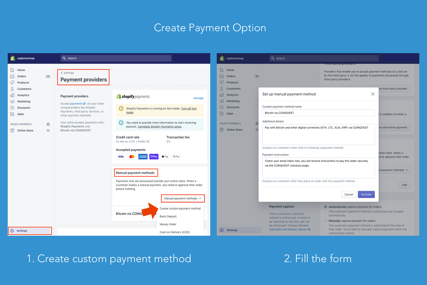 Create a payment option for COINQVEST
