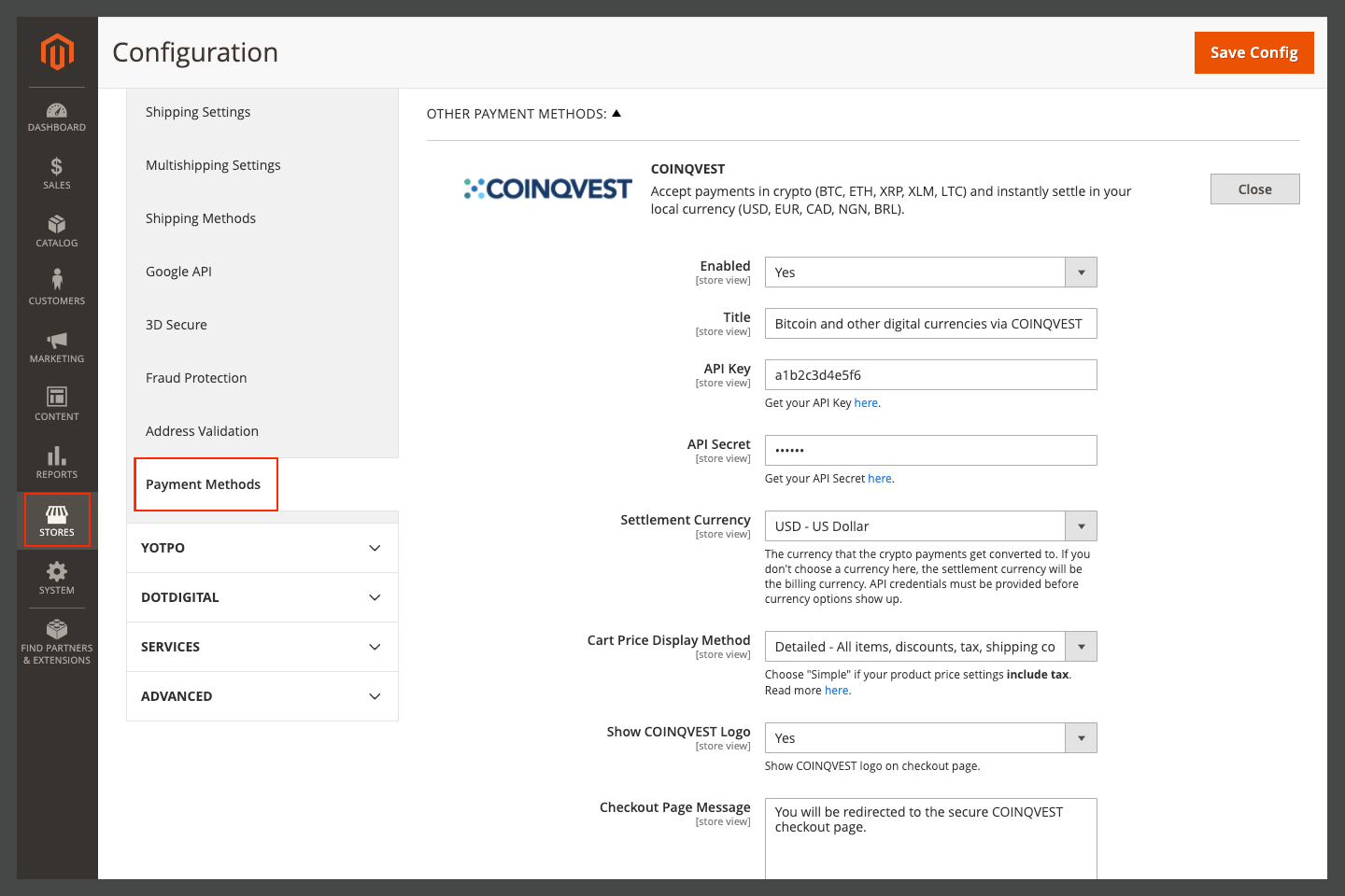 COINQVEST Payment Method Settings in Magento Admin Area