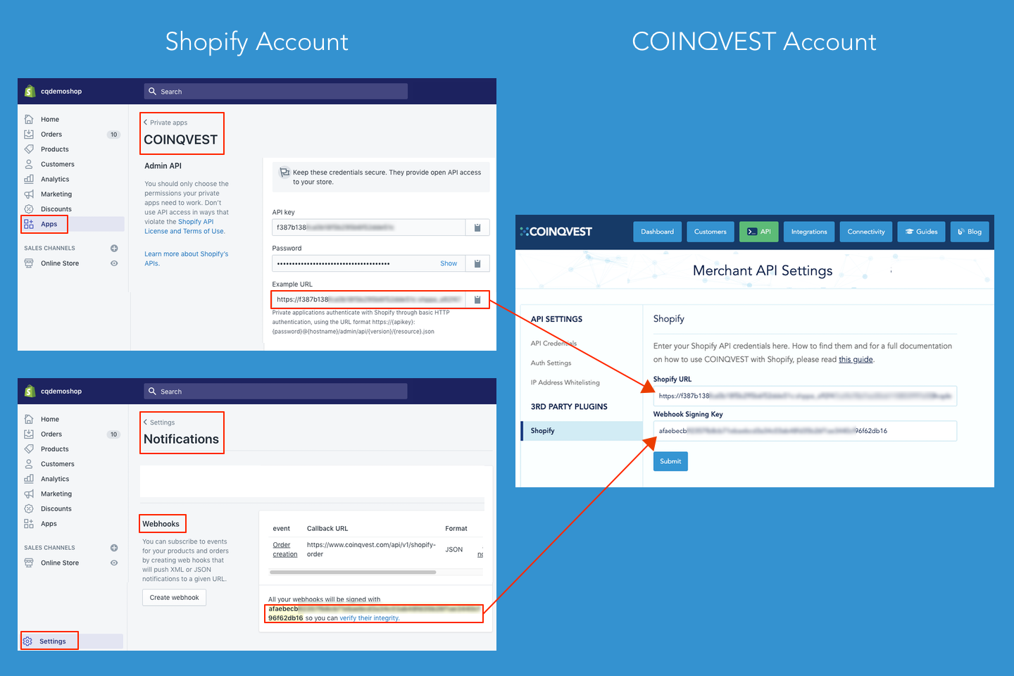 Copy Shopify API credentials in COINQVEST account