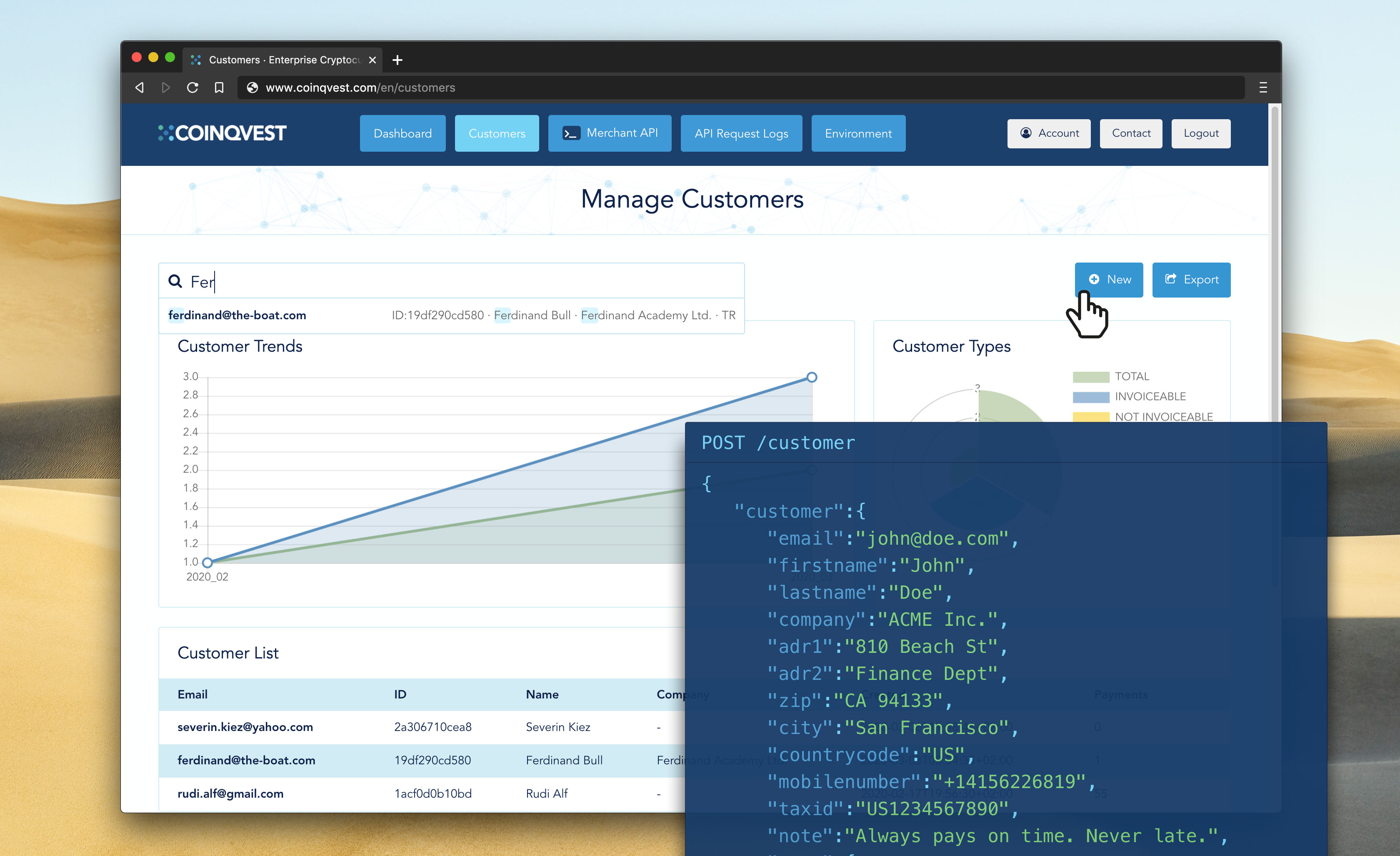 Customer Management, Transaction Records and Invoicing via UI or API